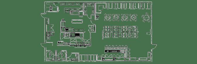 نقشه اولیه چیدمان تجهیزات رستوران
